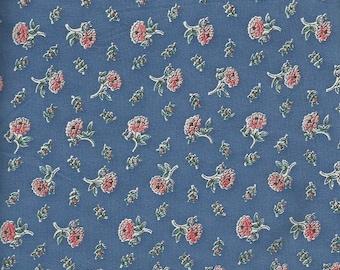 Vintage Blue Floral Print Fabric 1 yard