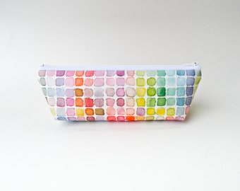 Rainbow Watercolor Pencil Case - Zipper Pouch - Vintage Color Guide Fabric - Makeup Bag - Back to School Supply