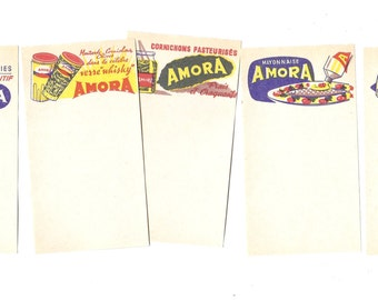 5 Antique FRENCH NOTE Papers - Ephemera Paper Pack - Vintage receipts and commercial blank forms