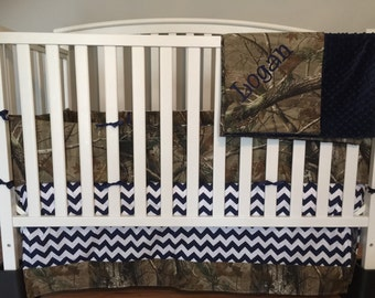 4 pc CAMO & Navy blue CHEVRON crib set made with realtree fabric and navy blue minky dots blanket with free monogram