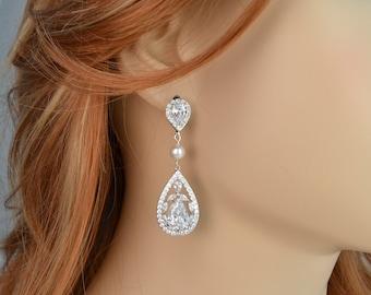 Bridal Earrings, Cubic Zirconia Crystals, Teardrops, Swarovski Pearls, Stud Earrings, Amber Earrings - Will Ship in 1-3 Business Days