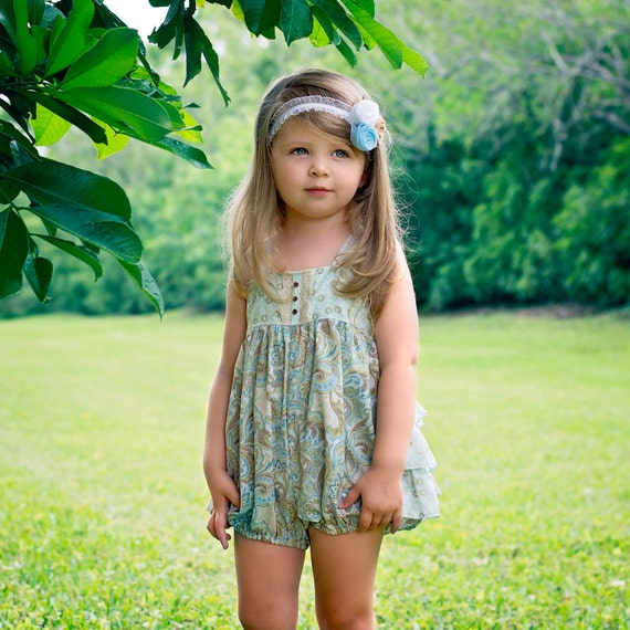 Girls Ruffled Bubble Paisley Dreams Collection Boutique Elli'Ette Green Blue Gold Metallic Toddler Infant Girls