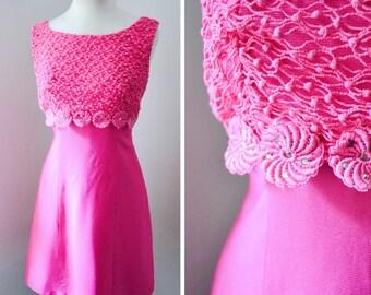 1960s Hot pink rhinestone mini dress / 60s shocking pink party dress - XS