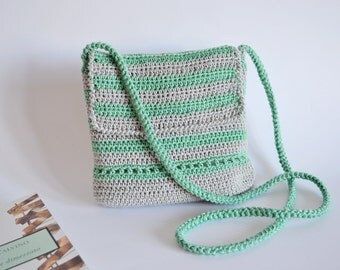 Crossbody cotton bag Shoulder cotton purse, Shoulder summer bag, boho summer purse