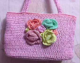 "Borsa ""Rose"" , Bag crocheted pink with handles, walking bag crochet."