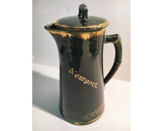 "NEWPORT Ceramic Pitcher w/ Lid & Strainer, Green Gold Glaze - Made in Vermont [11"" x 5""]"