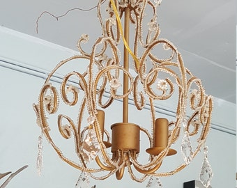 Beaded French Birdcage Style Chandelier