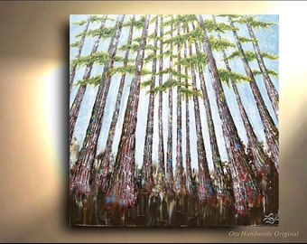 Forest Landscape Conifer Tree Forest Painting Yellow Green Heavy Textured  Pine Art Abstract Artwork Textured  Modern Contemporary by OTO