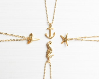 Sea Charm Necklaces | Shark tooth necklace | Starfish necklace | Anchor Necklace | Seahorse Necklace | Seashell Necklace | Layering Necklace