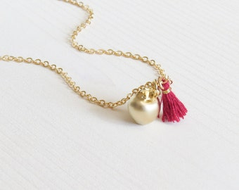 Apple Necklace | Apple Charm Necklace | Teacher Gift | Fall Jewelry | Gold Apple Necklace | Tassel Necklace