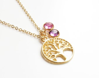 Family Tree Necklace | Gold Tree Necklace | Tree of Life Necklace | Birthstone Necklace | Mothers Day Necklace