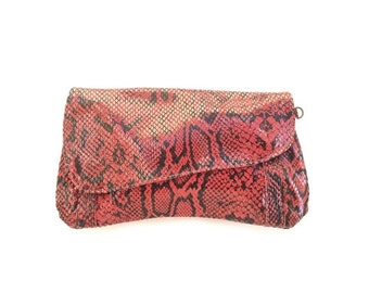 Summer SALE, Red leather bag, Snake printed clutch, handmade purse, leather bag