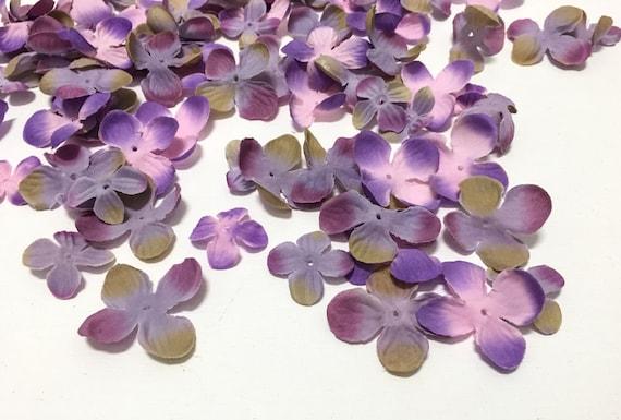 Artificial flower blossoms - 70 hydrangea blossoms in purple pink and khaki BlissfulSilks in Etsy Studio