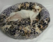 Fleece Leopard Pet Bed Toy Size Dogs Cats Handmade Poly Fil Fiber Stuffed Sides Washable