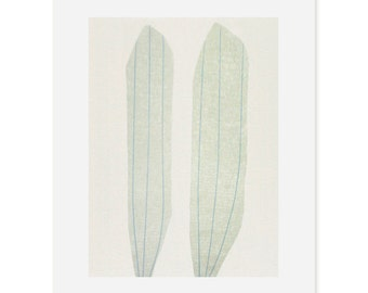 Large abstract Striped Seeds original silkscreen print. Original drawing, muted tones, natural colours by Emma Lawrenson