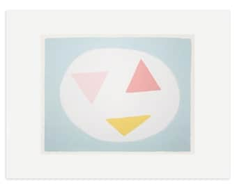 Retro pastel handmade screenprint, 'Dancing Triangles', a colourful original fifties inspired screenprint on beautiful Fabriano paper.