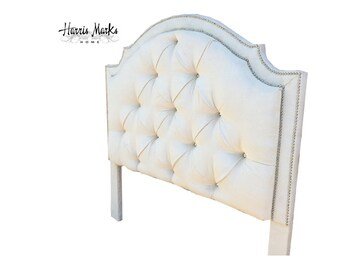 Tufted King Bed Velvet Royal Rhinestone Crystal Button Nail