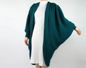 VINTAGE Big Sweater Oversized Cardigan Batwing Green Small