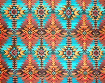 Southwest Fabric , Turquoise Rust Gold Cotton Material , Timeless Treasures