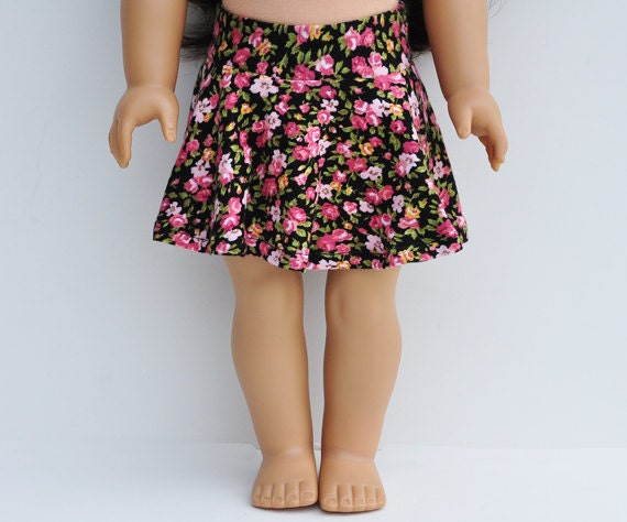 18 inch Doll Clothes - Skater Skirt, Floral, Black, Magenta, Separates, Bottoms, Mini