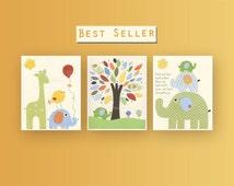 Nursery Decor For Baby Room Nursery Wall Art Decor Jungle Friends Yellow Blue Green Orange Safari animal theme Balloon Giraffe Nursery tree