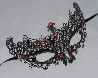 Black Metallic Scroll Filigree Masquerade Mask with Red Accents - Black and Red Metallic Mask