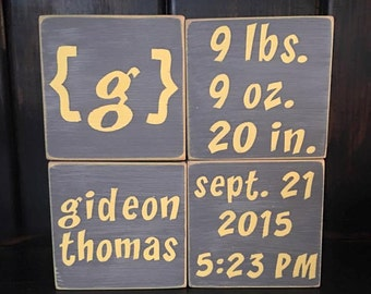 custom wood birth announcement blocks
