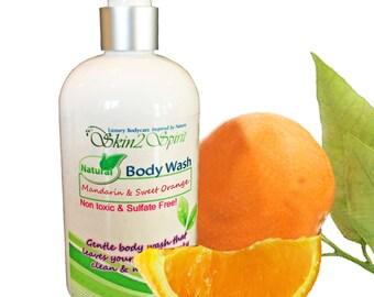 MANDARIN & SWEET ORANGE Organic Body Wash - New Larger Size - No Synthetic Fragrance Oils - No Sodium Laurel Sulfate - Non Toxic -12 oz