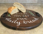 "18"" Handpainted 'Daily Bread' Serving Tray"
