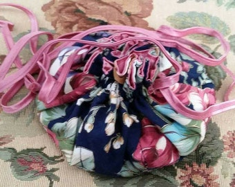 Vintage Jewelry Pouch Draw String 1980s Floral Pattern Roses Dark Blue Rose Satin Interior
