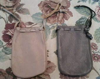 Vintage Leather Pouche With Draw String Closures Dark Brown or Light Brown