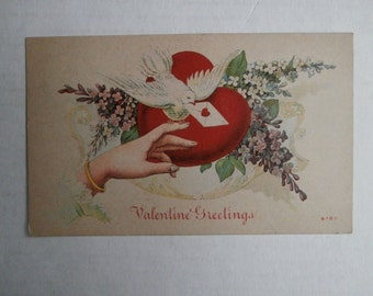 Antique Victorian Valentine's Day Postcard, Dove with Envelope, Ladies Arm/Hand, Floral