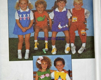 Size 2 3 4 Toddler Childrens SImplicity 8531 Romper Jumper Overalls Play cloths Casual Boys Girls Kids Vintage 1980s Uncut Sewing Pattern