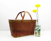 Red-Man Woven Picnic Basket - Vintage Redmon basket