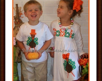 Brother Sister Thanksgiving Set - Thanksgiving Sibling Set - Infant Toddler Youth Size
