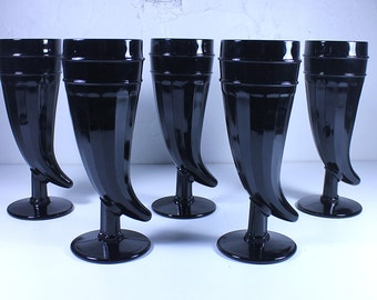 Set of 5 Tiara Indiana Black Amethyst Black Horn Glasses