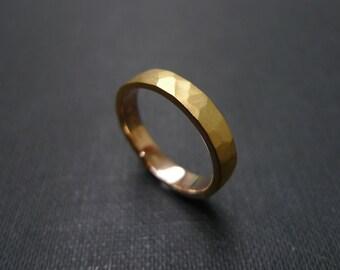 Hammered Ring 14K Gold, Men's Wedding Band, Men's Ring, Men's Jewelry, Hammered Engagement Ring, Satin Ring, Satin Jewelry, Rose Gold Ring