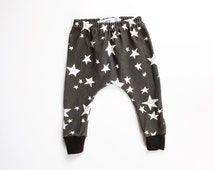 black and white star harems, toddler harems, hipster baby clothes, cloth diaper