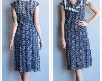 1930s Dress // Leaf Eyelet Cotton Dress // vintage 30s dress