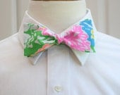 Men's Bow Tie in Lilly Hibiscus Stroll, groomsmen gift, wedding party wear, Lilly menswear, tuxedo accessory, self tie, Carolina Cup bow tie