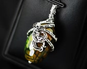 Snake agate pendant, wire-wrapping, wrapped agate pendant, green yellow necklace, wire wrap, mystery pendant, silver pendant, 925, .925, 999