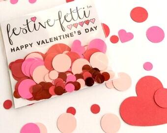 Valentine Party Favors, Valentine's Day Confetti, Heart Confetti, Valentine Class Favor, Hot Pink Confetti, Red Confetti, Mini Confetti Bags