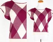 Vintage Burgundy Oxblood Maroon Cream Grid Check Oversized Plaid Knit Sweater Vest // Preppy Argyle Golf Country Club Tennis Cap Sleeve Top