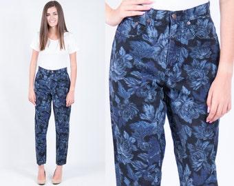 Vintage 1980s Bill Blass Floral Print Denim Blue Jeans // High Waist Skinny Boyfriend // Size 4 - 6 // FREE SHIPPING