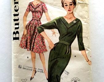 60s Butterick 9829 Slim Sheath Dress or Full Skirt Dress with Banded Portrait Neckline Size 40 Bust 42