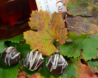 Chocolate Wine Truffles, Rosé, Wine Truffles, Dark Chocolate, Truffles, Chocolate Wine, Wine Chocolate, Gifts for Her, Hostess Gifts
