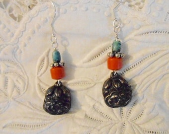 China Delight Silver Coral Turquoise Earrings