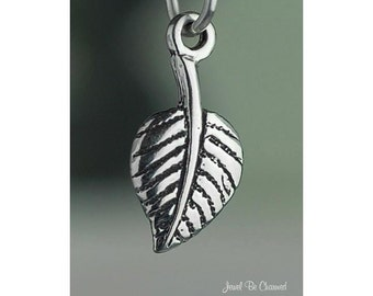 Small Sterling Silver Aspen Leaf Charm Tree Skiing Colorado Solid .925