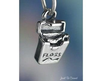 Dental Floss Charm Sterling Silver Tooth Care Dentist 3D Solid .925