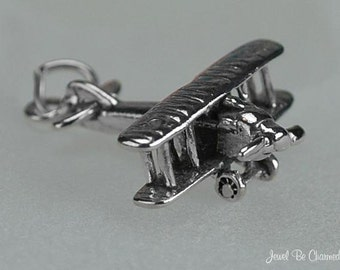 Sterling Silver Biplane Charm Aircraft Plane Airplane 3D Solid .925